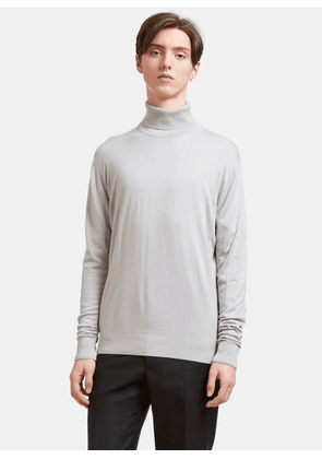 Aiezen Men's Ribbed Roll Neck Sweater in Light Grey size XL