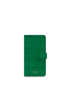 Mulberry iPhone Flip Case in Emerald Green Croc Print