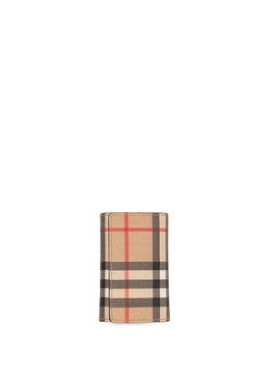 Burberry Vintage Check E-canvas and Leather Key Case - Brown
