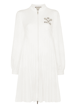 Gucci embroidered logo pleated tennis dress - White