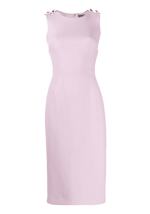 Dolce & Gabbana floral embellished midi sheath dress - Pink