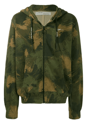 Off-White camouflage print zipped hoodie - Green