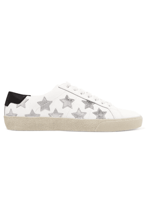 SAINT LAURENT - Court Classic Appliquéd Metallic-trimmed Leather Sneakers - White