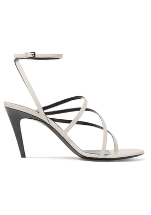 SAINT LAURENT - Paris Minimalist Patent-leather Sandals - Ivory