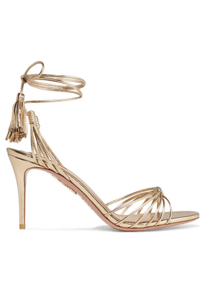 Aquazzura - Mescal 85 Metallic Leather Sandals - Gold