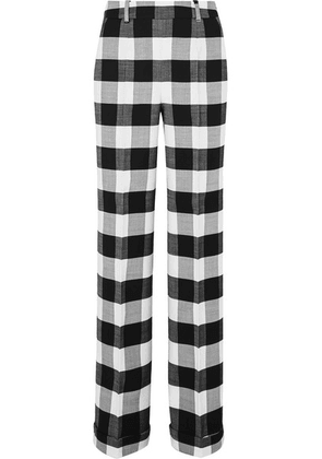 Altuzarra - Gavi Gingham Wool-blend Twill Wide-leg Pants - Black
