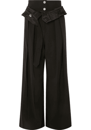 A.W.A.K.E. MODE - Folded Wool-blend Wide-leg Pants - Black