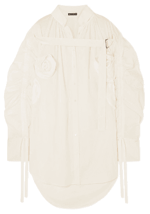 Ann Demeulemeester - Appliquéd Ruched Cotton Shirt - White