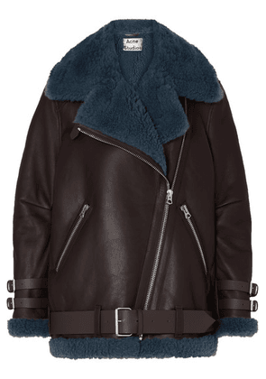 Acne Studios - Velocite Shearling-trimmed Leather Biker Jacket - Brown
