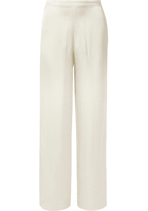 Theory - Hammered-satin Straight-leg Pants - Off-white
