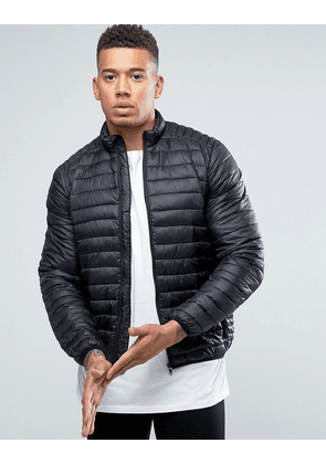 ASOS Quilted Jacket with Funnel Neck in Black