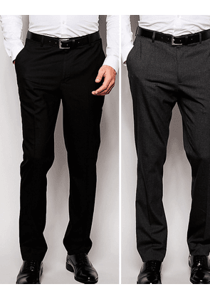 ASOS 2 Pack Slim Smart Trousers in Black and Charcoal