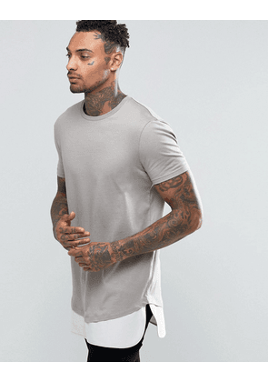 ASOS Super Longline T-Shirt With Stretch Neck And Waven Shirt Hem In Grey