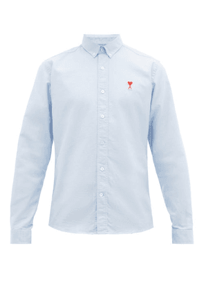 Ami - Logo Embroidered Cotton Oxford Shirt - Mens - Blue