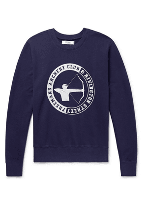 Freemans Sporting Club - Printed Loopback Cotton-jersey Sweatshirt - Indigo