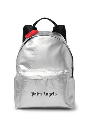 Palm Angels - Logo-print Coated-canvas Backpack - Silver