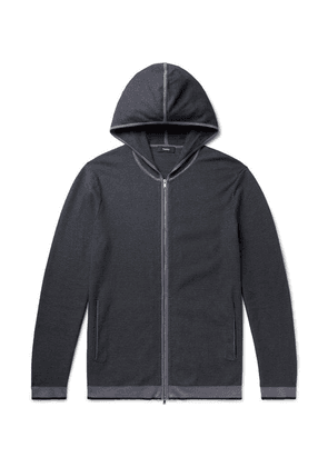 Theory - Braghe Textured Cotton-blend Zip-up Hoodie - Midnight blue