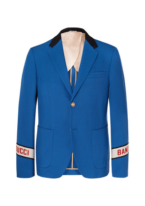 Gucci - Blue Cambridge Logo-embroidered Cotton-twill Suit Jacket - Blue