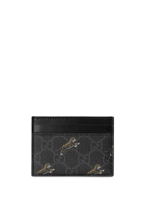 Gucci GG card case with tiger print - Black