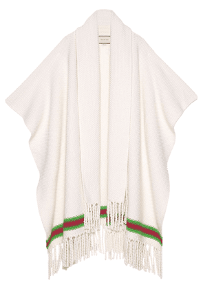 Gucci Cape with oversize wool scarf - White