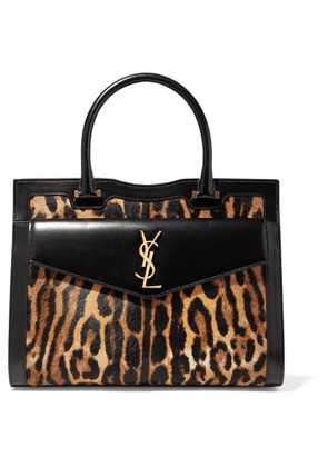 SAINT LAURENT - Uptown East West Medium Leopard-print Calf Hair And Leather Tote - Brown