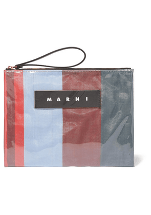 Marni - Leather-trimmed Pvc And Striped Canvas Pouch - Orange