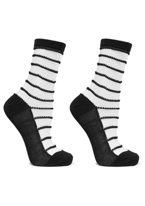 Wolford - Isabella Set Of Two Striped Cotton-blend Socks - Unknown