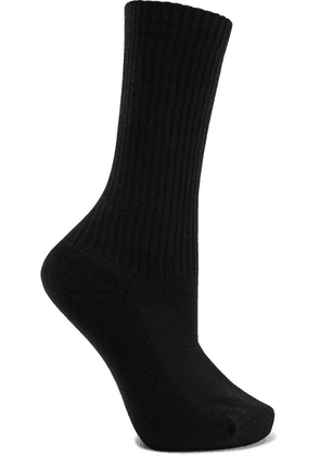 Balenciaga - Ribbed Intarsia Cotton-blend Socks - Black