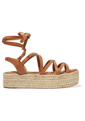 Zimmermann - Leather Espadrille Platform Sandals - Tan