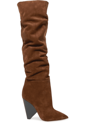 SAINT LAURENT - Niki Suede Over-the-knee Boots - Brown
