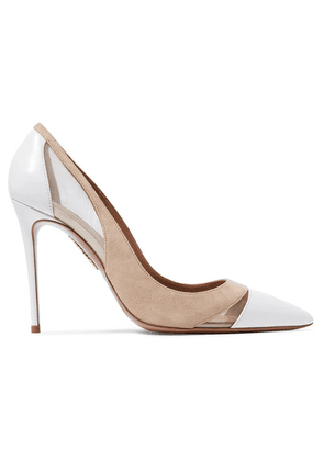 Aquazzura - Savoy 105 Leather, Suede And Mesh Pumps - White