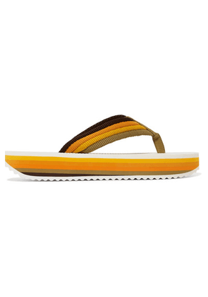 Zimmermann - Rainbow Leather-trimmed Canvas Platform Flip Flops - Yellow