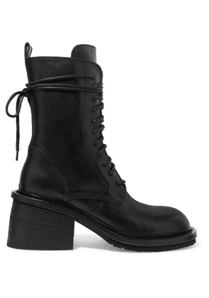 Ann Demeulemeester - Lace-up Leather Ankle Boots - Black