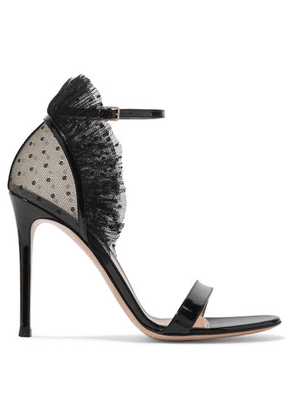 Gianvito Rossi - 105 Ruffled Point D'esprit And Patent-leather Sandals - Black