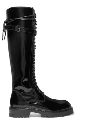 Ann Demeulemeester - Lace-up Glossed-leather Knee Boots - Black