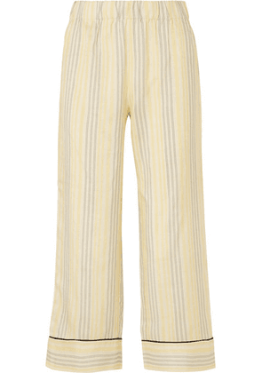GANNI - Bergamot Striped Silk Straight-leg Pants - Pastel yellow