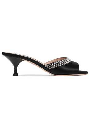 Miu Miu - Crystal-embellished Satin Mules - Black