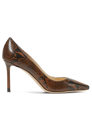 Jimmy Choo - Romy 85 Snake-effect Leather Pumps - Brown