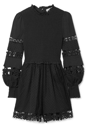 Zimmermann - Primrose Daisy Smocked Crochet-trimmed Fil Coupé Cotton-voile Playsuit - Black