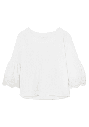 See By Chloé - Fluted Broderie Anglaise Cotton-jersey Top - White