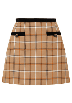Miu Miu - Velvet-trimmed Checked Woven Mini Skirt - Beige