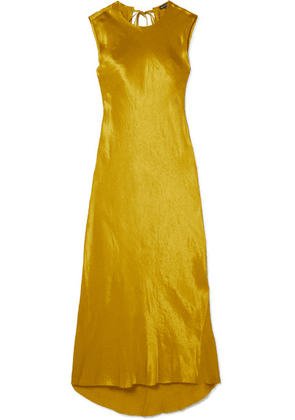 Ann Demeulemeester - Frayed Hammered-satin Maxi Dress - Gold