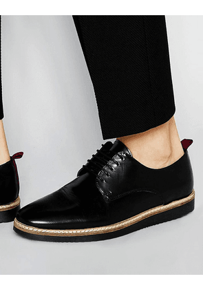 ASOS Derby Shoes in Black Leather With Red Back Pull