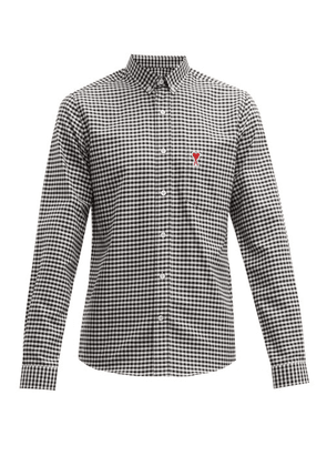 Ami - Logo Embroidered Gingham Cotton Shirt - Mens - Black White