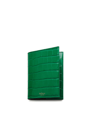 Mulberry Passport Cover in Emerald Green Croc Print