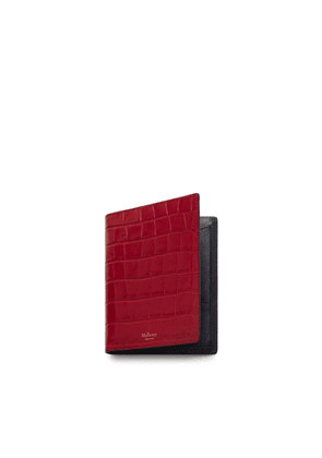 Mulberry Passport Cover Wallet in Red Berry Croc Print