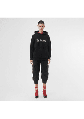 Burberry Embroidered Logo Jersey Hoodie, Black
