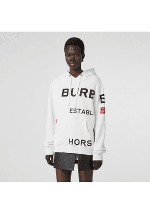 Burberry Horseferry Print Cotton Oversized Hoodie, Size: M, White