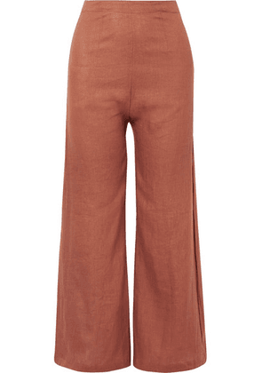 Faithfull The Brand - Scelsi Cropped Linen Wide-leg Pants - Light brown