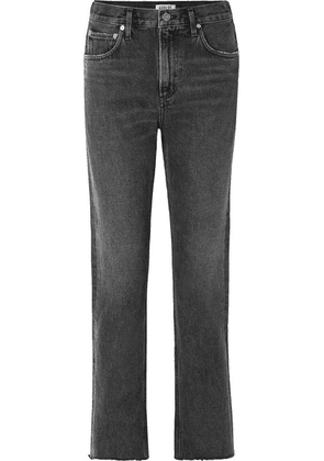 AGOLDE - Cherie Distressed High-rise Straight-leg Jeans - Charcoal